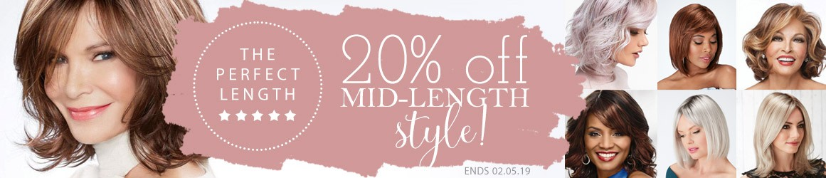 20% off Mid Length Wigs