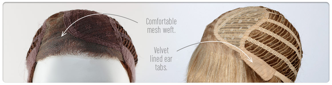 Lace front, monofilament parting and comfort base cap